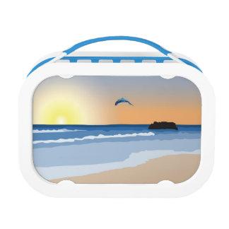 La puesta del sol del océano embroma la caja del