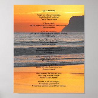 """La puesta del sol del océano """"lo hace de todos póster"""