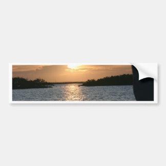 La puesta del sol del pescador pegatina para auto