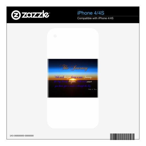 La puesta del sol del viaje iPhone 4 calcomanías