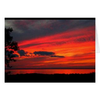La puesta del sol del Winnebago del lago consigue Tarjeta De Felicitación