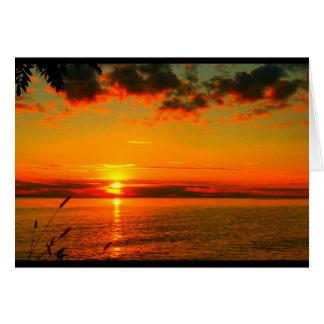 La puesta del sol del Winnebago del lago le Tarjeta De Felicitación