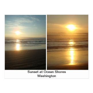 La puesta del sol en el océano apuntala Washington Tarjetas Postales