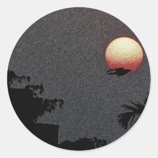 ¡La puesta del sol hermosa! Pegatina Redonda