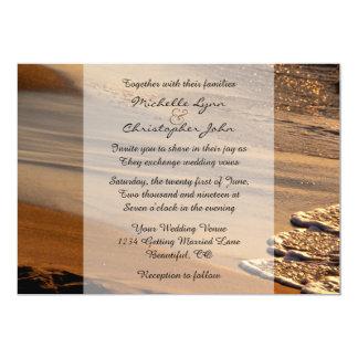 """La puesta del sol hermosa, playa de Sandy, boda de Invitación 5"""" X 7"""""""