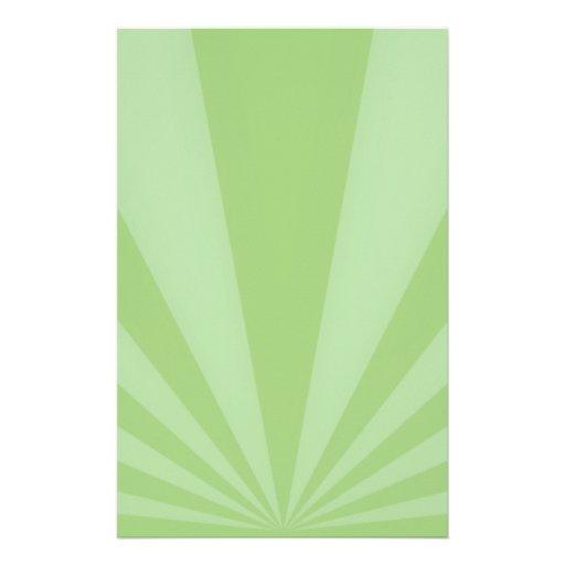 La puesta del sol irradia verde de la primavera papeleria de diseño