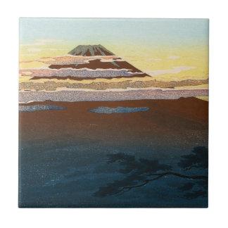 La puesta del sol japonesa fresca de Fuji de la Azulejo Cuadrado Pequeño