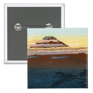 La puesta del sol japonesa fresca de Fuji de la mo Pin Cuadrado