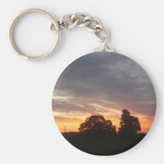 La puesta del sol llavero redondo tipo pin