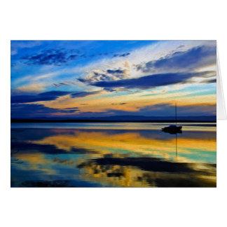 La puesta del sol pasada 3 del invierno tarjeta de felicitación