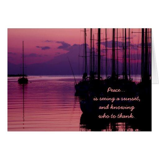 La puesta del sol púrpura agradecida agradecida de tarjeta de felicitación