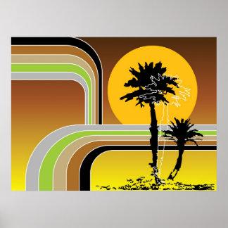 La puesta del sol retra tropical de la playa de la póster