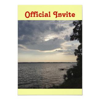 """La puesta del sol se nubla el lago NY Cayuga Invitación 5"""" X 7"""""""
