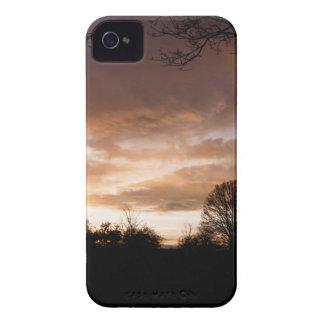 La puesta del sol siluetea árboles carcasa para iPhone 4