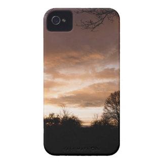 La puesta del sol siluetea árboles funda para iPhone 4