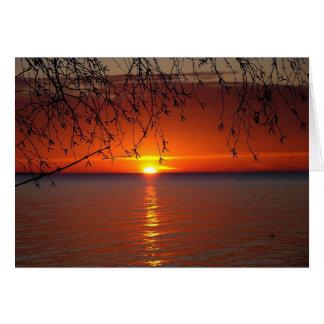 La puesta del sol tardía le agradece cardar felicitacion