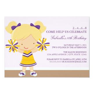 la púrpura 5x7/la fiesta de cumpleaños de la anuncios personalizados