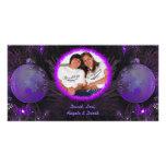 La púrpura adorna la tarjeta de la foto del navida tarjeta fotográfica personalizada