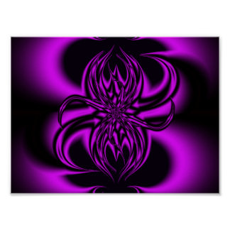 La púrpura arrastra fractal póster