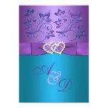 La púrpura, boda floral del monograma de los invitación
