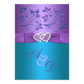 """La púrpura, boda floral del monograma de los invitación 5"""" x 7"""""""