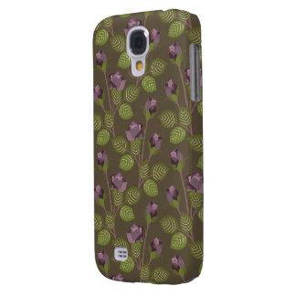 La púrpura bonita verde oliva florece la caja dura funda para galaxy s4