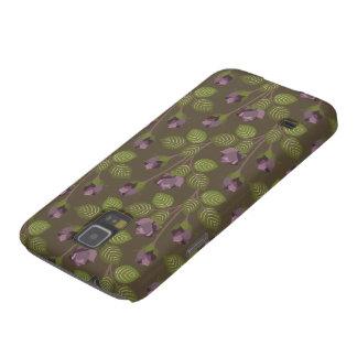 La púrpura bonita verde oliva florece nexo de la funda para galaxy s5