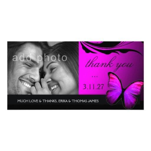 La púrpura brillante del rosa de la mariposa 311 l tarjeta fotografica personalizada