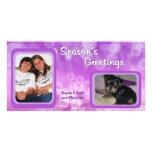 La púrpura burbujea la tarjeta de la foto de los s tarjetas fotograficas personalizadas