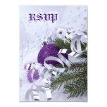La púrpura chispeante adorna la tarjeta de RSVP Invitación 8,9 X 12,7 Cm
