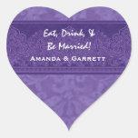 La púrpura come la bebida y sea damasco casado que pegatina corazón