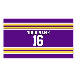 La púrpura con blanco amarillo raya el jersey de tarjetas de visita