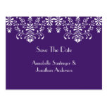 La púrpura con los remolinos florales blancos ahor tarjetas postales