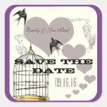 La púrpura confina bodas de la jaula de pájaros y pegatinas cuadradases personalizadas