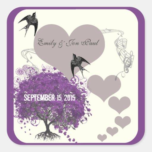 La púrpura confina bodas del árbol de la hoja del calcomanías cuadradass personalizadas