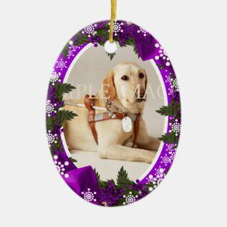 La púrpura conmemorativa de la foto del mascota PE Ornamento De Navidad