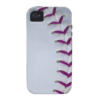 La púrpura cose béisbol/softball iPhone 4/4S funda