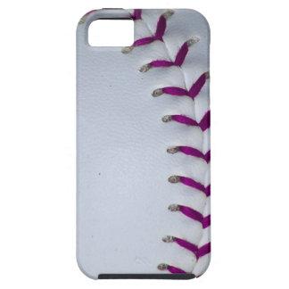 La púrpura cose béisbol/softball iPhone 5 Case-Mate protectores