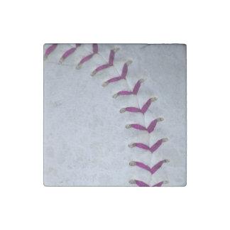 La púrpura cose béisbol/softball imán de piedra