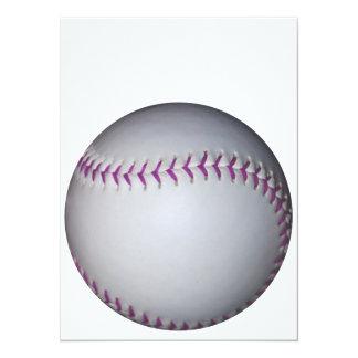 "La púrpura cose béisbol/softball invitación 5.5"" x 7.5"""