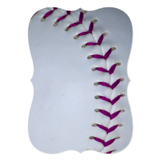 "La púrpura cose béisbol/softball invitación 5"" x 7"""