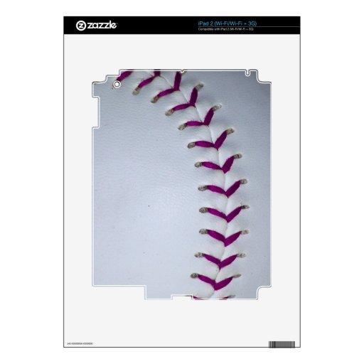 La púrpura cose béisbol/softball iPad 2 calcomanía