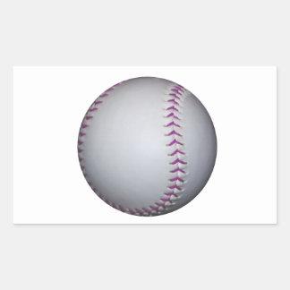 La púrpura cose béisbol/softball pegatina rectangular
