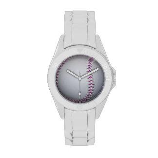 La púrpura cose béisbol softball reloj de mano