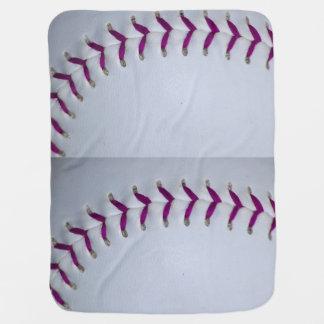 La púrpura cose béisbol/softball mantita para bebé