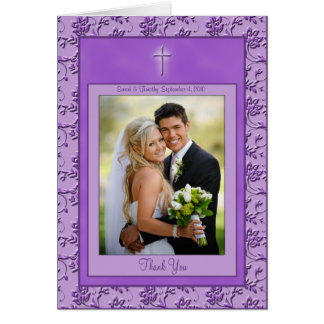 La púrpura cristiana le agradece cardar con la fot tarjeta de felicitación