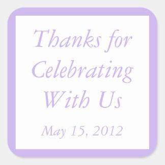 La púrpura de encargo le agradece los pegatinas y calcomanías cuadradass personalizadas