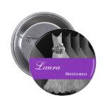 La púrpura de la plata del botón del Pin de la DAM