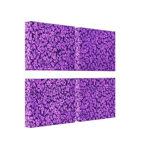 La púrpura de las flores del vintage estiró la imp impresión en lienzo estirada
