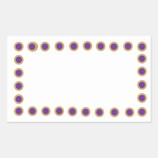 La púrpura de Purpledot puntea n de oro - celebre Pegatina Rectangular